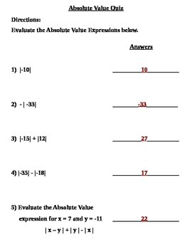 Absolute Value Quiz (7.NS.1, 7.NS.1a; Mathematical Practices 1, 2, 3, 4, 7)