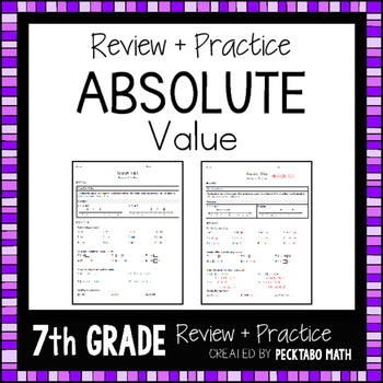 Absolute Value Review and Practice Worksheet 7th Grade