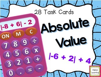 Absolute Value - Set of 28 Task Cards