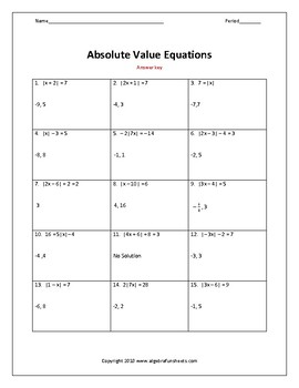 Solving Absolute Value Equations Worksheet by Algebra Funsheets | TpT