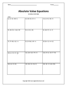 Solving Absolute Value Equations with Variables on Both Sides Worksheet
