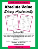 Absolute Value - Solving equations algebraically - Algebra 1