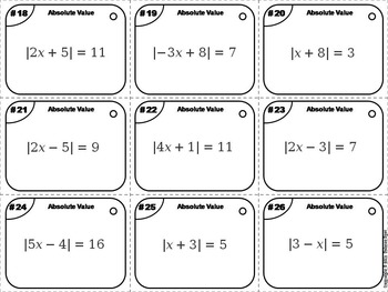 Solving Absolute Value Equations Task Cards/ Solving Absolute Value Task Cards