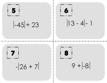 Absolute Value Task Cards