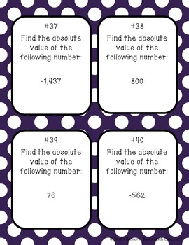 Absolute Value Task Cards (Set 1)