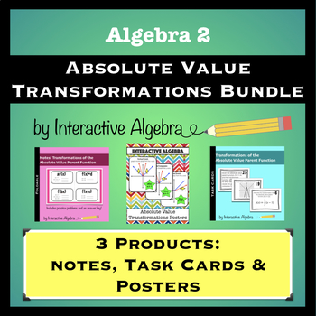 Absolute Value Transformations Bundle: Notes, Task Cards & Posters