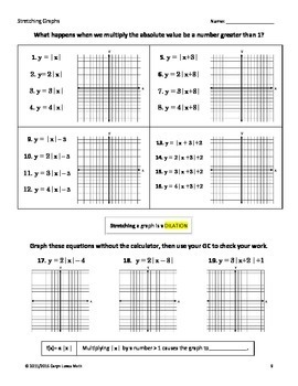 Graphing Absolute Value Translation Investigation Worksheet~Graphing Calculator