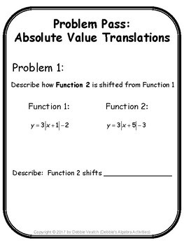 Absolute Value Translations Problem Pass Activity