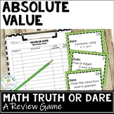 Absolute Value Review Activity | Truth or Dare Math Game