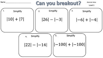 Absolute Value – Two Breakout Activities!