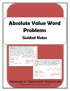Absolute Value Word Problems - Guided Notes