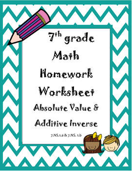 Absolute Value and Additive Inverse Weekly Homework