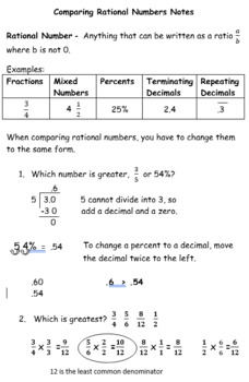 Absolute Value and Comparing Rational Numbers