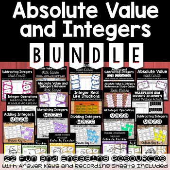Absolute Value and Integers BUNDLE