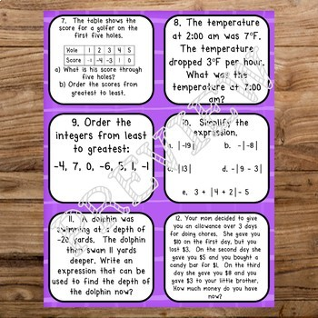 Absolute Value and Integers Review Task Cards