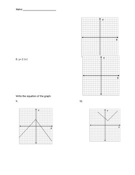 Absolute Value and Interpreting Graphs Quiz
