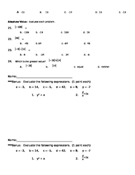 Absolute Value and Operations with Integers