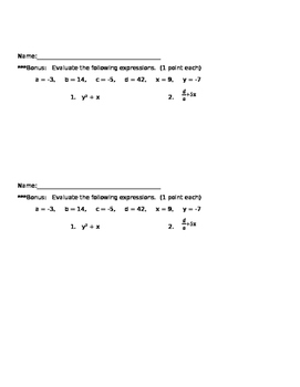 Absolute Value and Operations with Integers - MC
