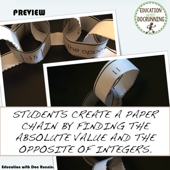 Absolute Value and Opposite Integers Paper Chain Activity  (7.NS.A.1b.)
