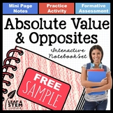 Absolute Value and Opposite Numbers Interactive Notebook S