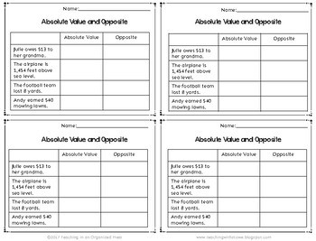 Absolute Value and Opposite Numbers Math Notebook Page