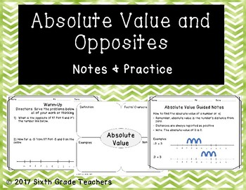 Absolute Value and Opposites Notes and Practice Resources