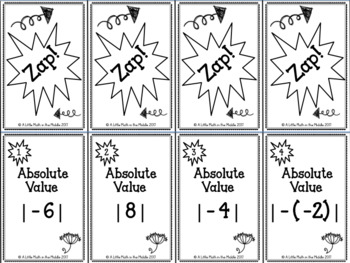 Absolute Value and Opposites ZAP Cards  TEKS 6.2B