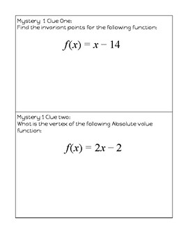 Absolute Value and Reciprocal Functions Scavenger hunt