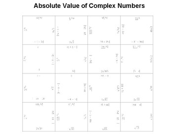 Absolute Value of Complex Numbers Fun Square Puzzle
