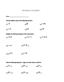 Absolute Value with Order of Operations Practice