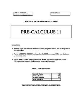 Absolute Values and Reciprocals Test - Version A with FULL SOLUTIONS