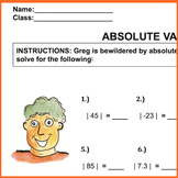 Absolute Values quiz or worksheet, 28 problems. 6.NS.C.7