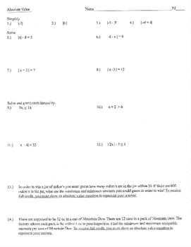 Absolute value equations, inequalities, quiz test assignme