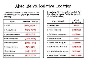 Absolute vs. Relative Location Worksheet Set