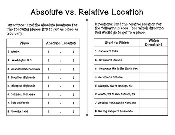 Absolute vs. Relative Location Worksheet Set