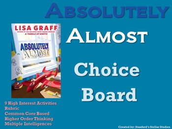 Absolutely Almost Choice Board Novel Study Activities Menu Book Project Rubric