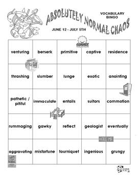Absolutely Normal Chaos Vocabulary Bingo