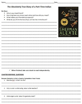 Absolutely True Diary of a Part Time Indian with Study Chapter Questions