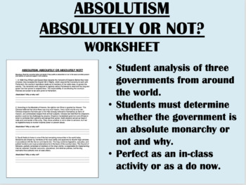 Absolutism - Absolutely or Not worksheet - Global/World History