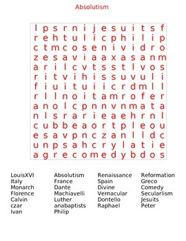 Absolutism Word Search