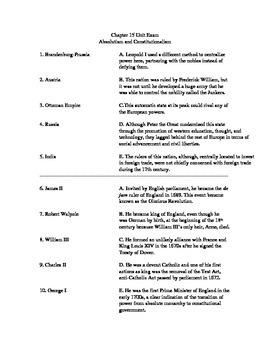 Absolutism and Constitutionalist Unit Exam - AP European History