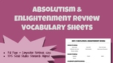 Absolutism and Enlightenment Review Vocabulary Sheets