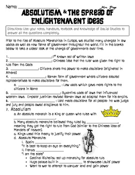 Absolutism and Enlightenment Skills Packet