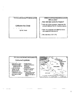 Absolutism in Russia under Catherine the Great- worksheet and lesson
