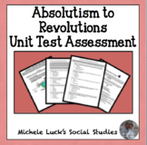 Absolutism to Revolutions Unit Test Assessment - Multiple Ch, Mapping, Response