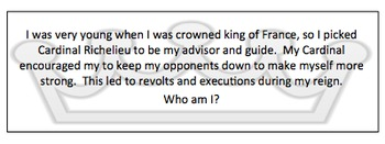 Absolutism to Revolutions Who Am I Review Game Cards World History