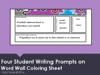 Absorb Word Wall Coloring Sheet