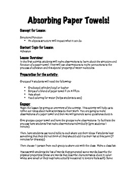 Absorbing Paper Towels Design an Experiment
