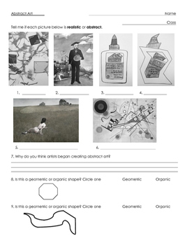 Abstract Art Worksheet