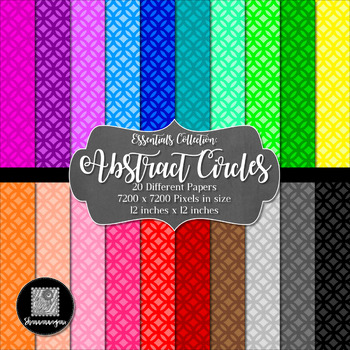 Abstract Circles 12x12 Digital Paper (Basic Colors)- Comme